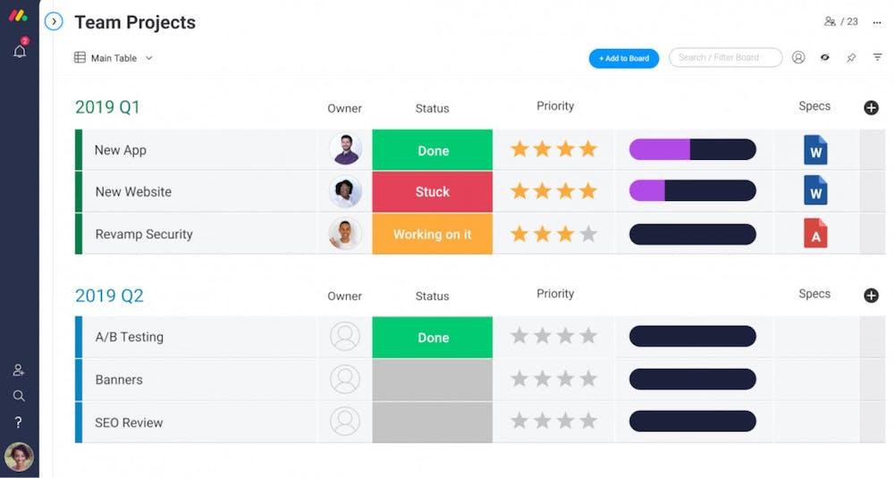 Monday com Test Screenshot Interface