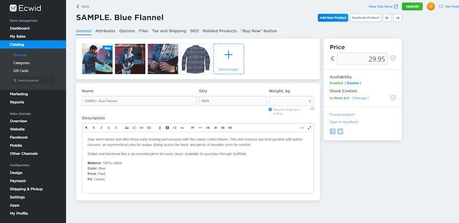 Ecwid Test Screenshot Produktverwaltung