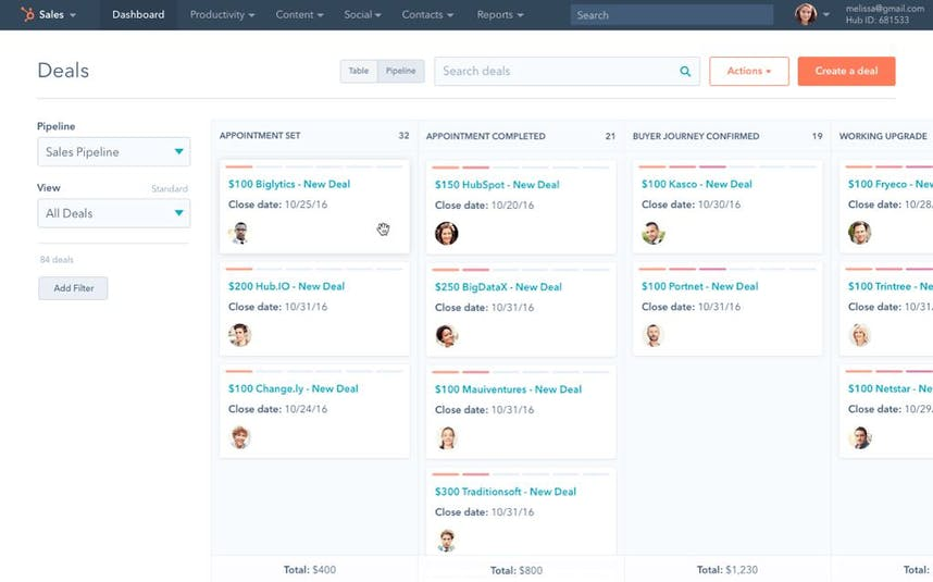 HubSpot CRM Screenshot Deals