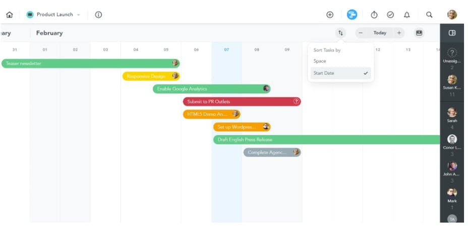 MeisterTask Test Screenshot Gantt-Diagramm