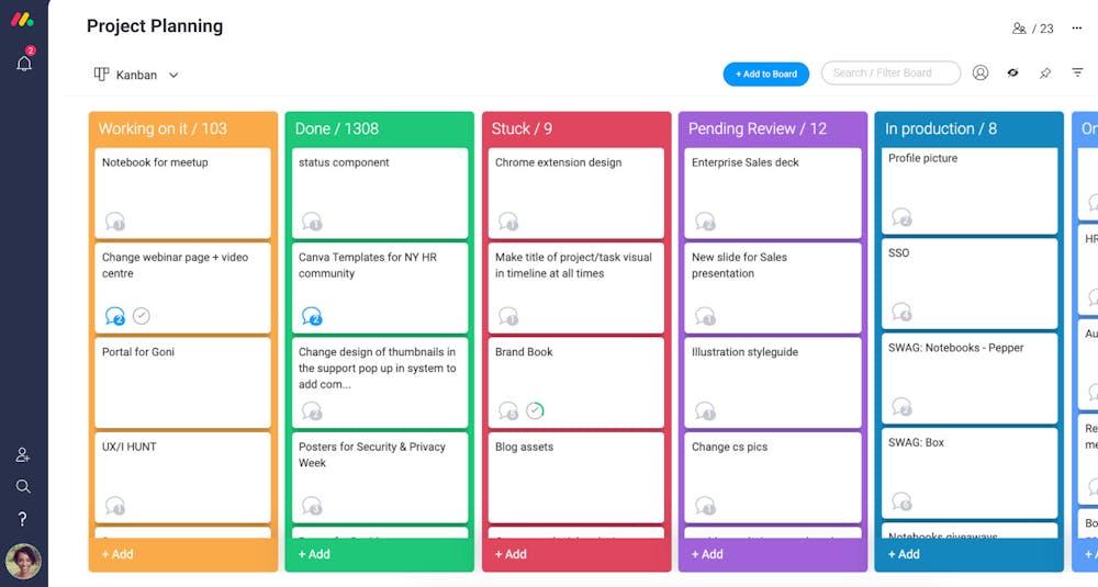 monday.com Test Screenshot Kanban