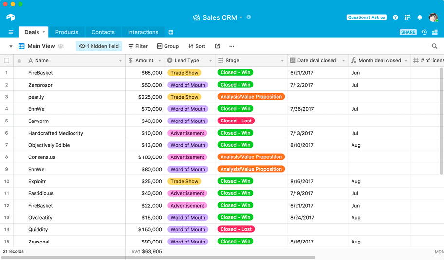 Airtable Overview Screenshot