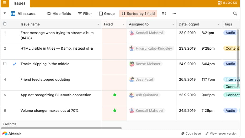 Airtable Test Fehler-Tracking