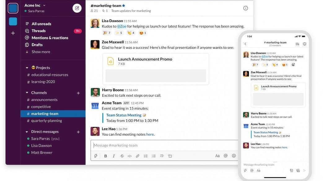 Slack Desktop and Mobile Direct Messaging Screenshot