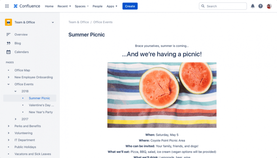 Confluence Office Picnic Invitation Screenshot