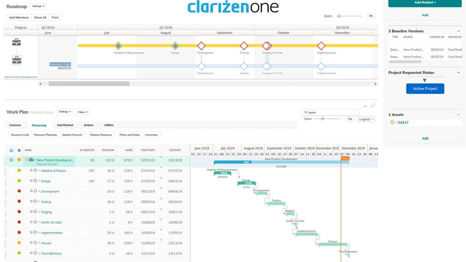 Clarizen One Gantt Charts Screenshot