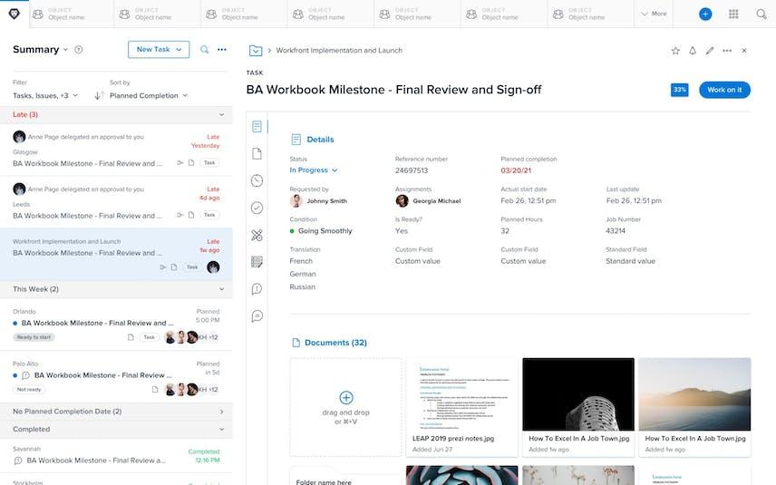 Workfront File-Sharing Screenshot