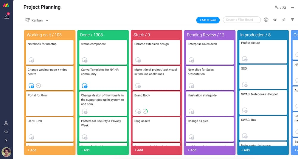 monday.com Kanban Boards Screenshot