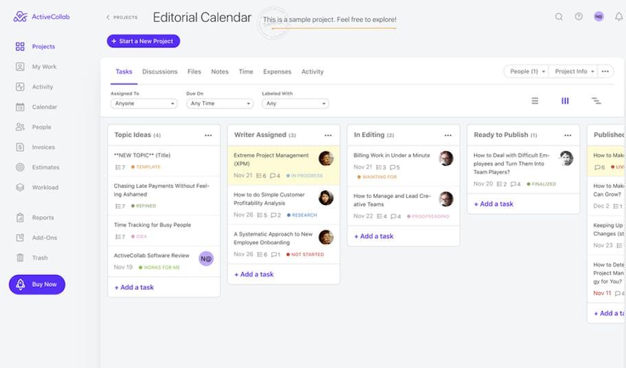 ActiveCollab Editorial Calendar Task View Screenshot
