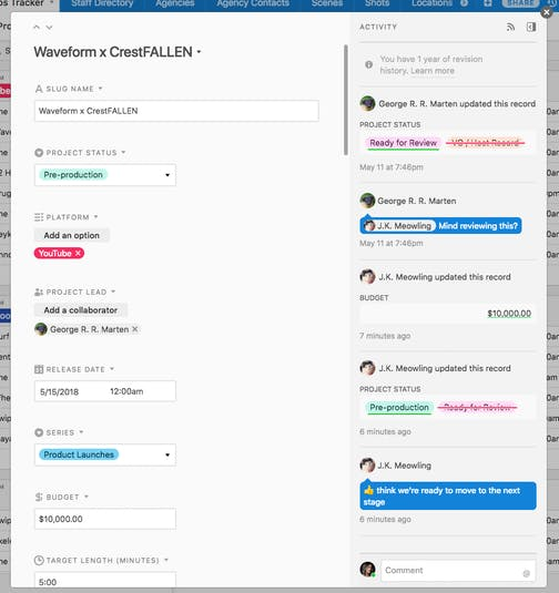 Airtable Comment Feature Screenshot
