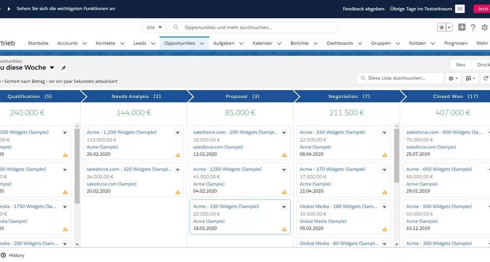 Salesforce Screenshot Opportunities