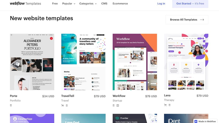 Webflow Template Collection Screenshot