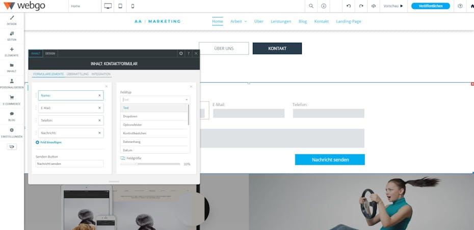 webgo Test Screenshot Formular-Editor