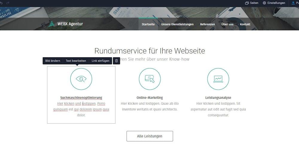 Webnode Test Screenshot Interface