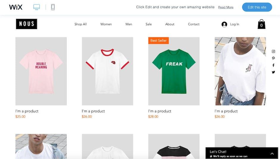 Wix Edit Products Screenshot