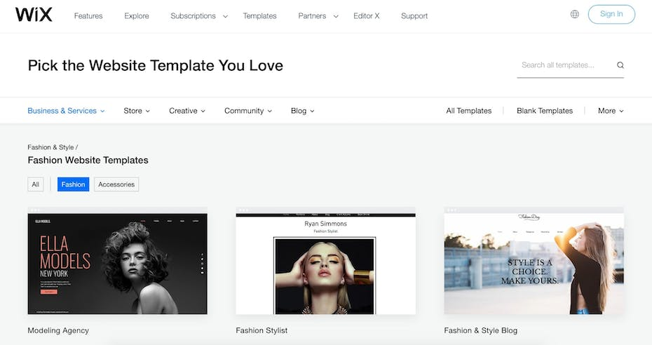Wix Template Collection Screenshot